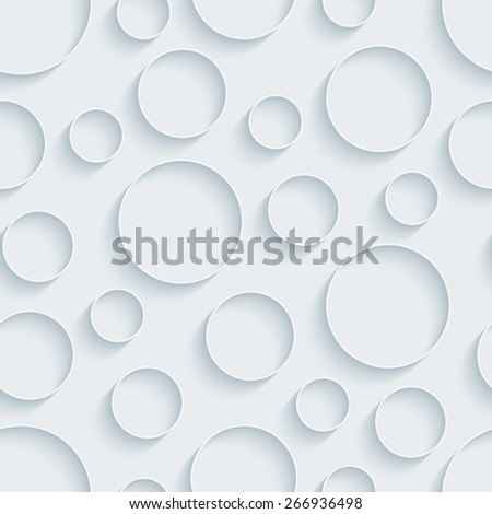 White paper with outline extrude effect. Circles 3d seamless background. Halftone vector EPS10. - stock vector