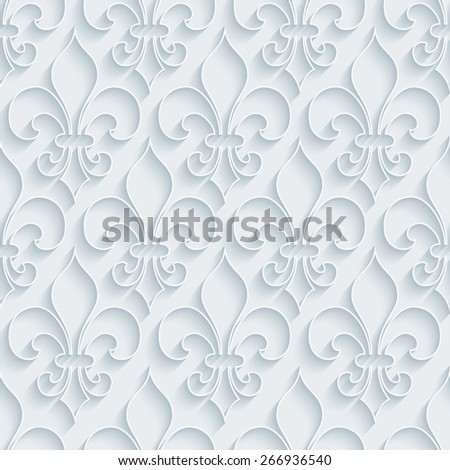 White paper with outline extrude effect. Fleur-de-lis 3d seamless background. Halftone vector EPS10. - stock vector