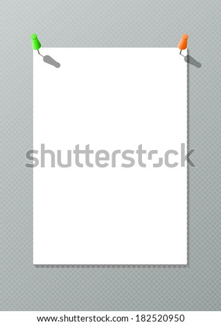 White paper with thumbtacks - stock vector