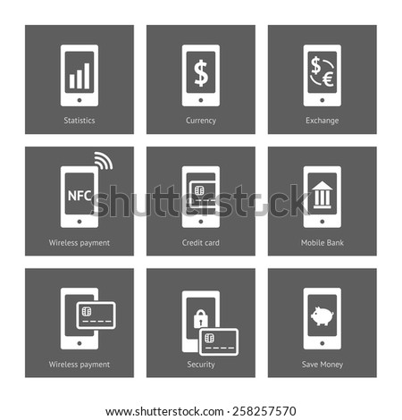 White payment vector icons set on dark squares. NFC, mobile banking and other sign in smartphone. Vector linear illustration - stock vector