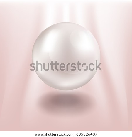 White pearl on pink background. Realistic vector illustration