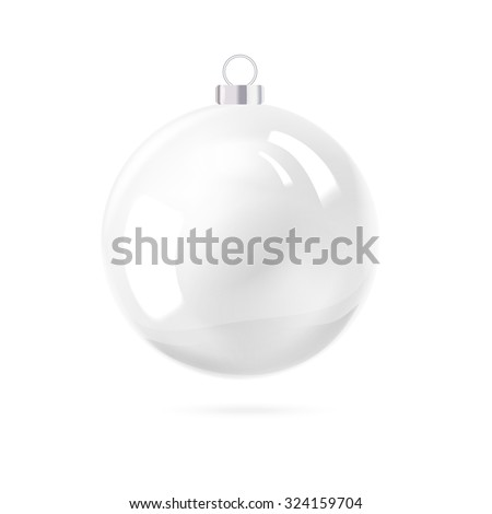 White pearl. White sphere on white background. Holiday christmas toy for fir tree. Vector illustration, contains transparencies, gradients and effects. - stock vector