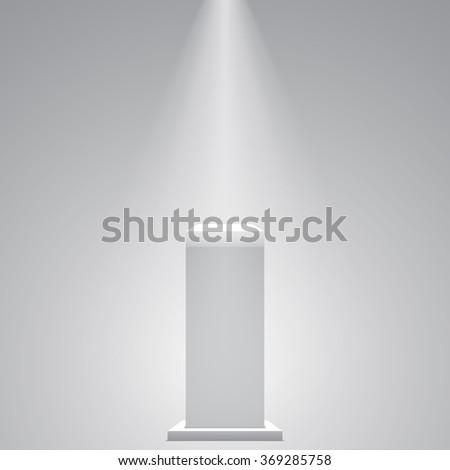 White pedestal. Stand. Tribune. Spotlight. 3D. Light effect. Vector illustration. - stock vector