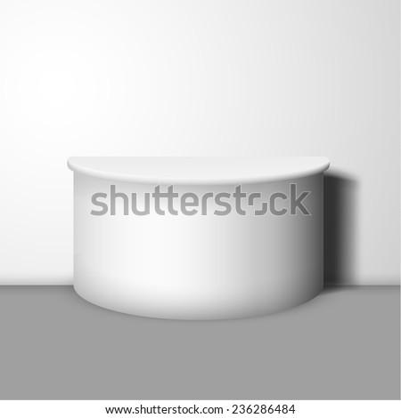 White pedestal vector background. - stock vector
