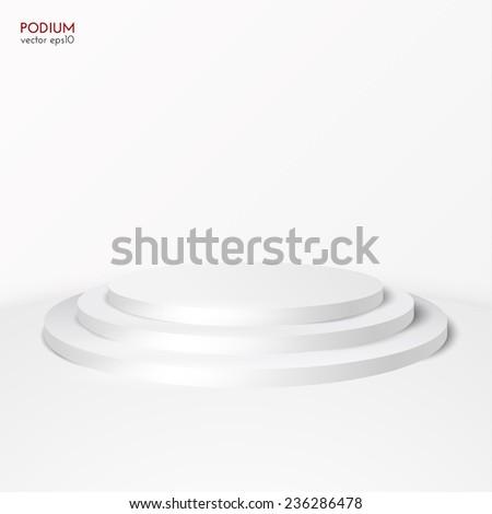 White pedestal vector background. Vector eps10. - stock vector