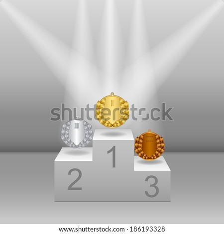 White pedestal with gold, silver and bronze medals. Realistic three-dimensional image - stock vector