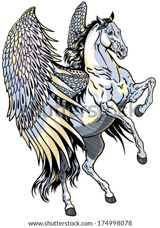 white pegasus, mythological winged horse, illustration  isolated on white background  - stock vector