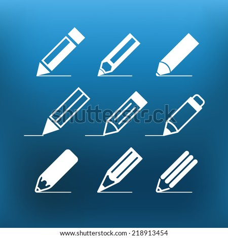 White pencil icons clip-art on color background. Design elements - stock vector