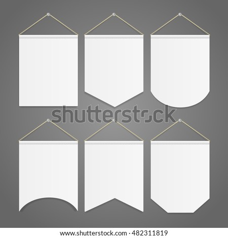 White Pennant Template Hanging On Wall Stock Vector (Royalty Free ...