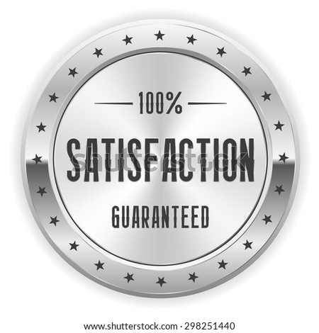 White 100 percent satisfaction badge with silver border - stock vector