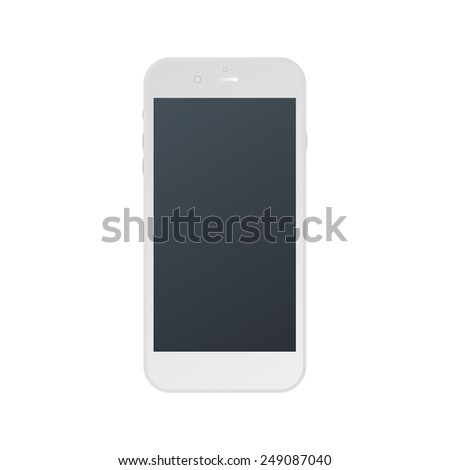White phone isolated. Vector realistic smartphone with empty screen. Illustration EPS10 - stock vector
