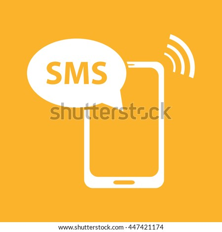White phone SMS vector icon illustration. Yellow background