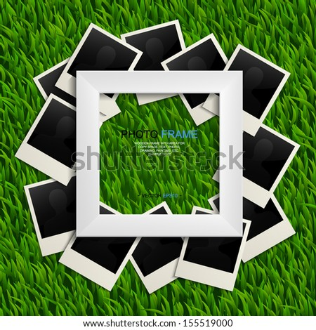 White photo frame and blank photo on green grass background - Vector illustration - stock vector