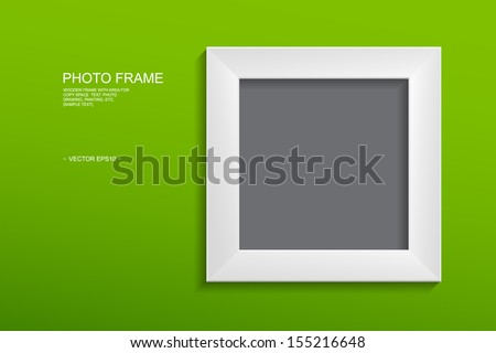 White photo frame on green wall with area for copy space - Vector illustration - stock vector