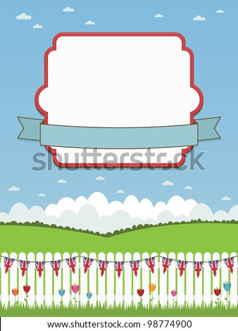 white picket fence with union jack bunting and frame with ribbon for your text - stock vector