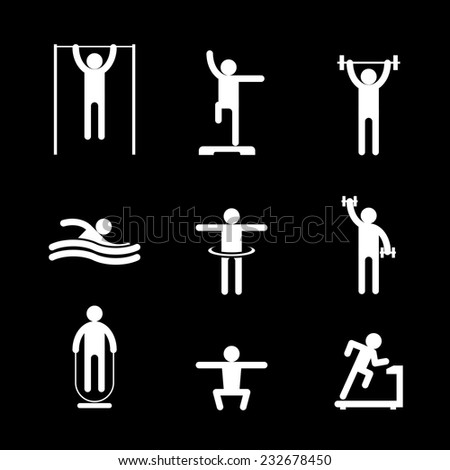 White pictogram silhouettes of people involved in sports on black background. Running, swimming and athletics. Vector illustration - stock vector