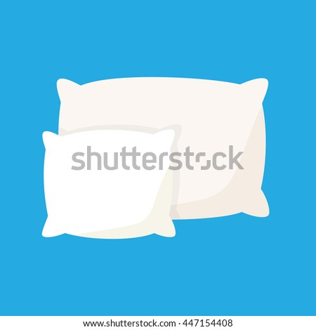 White pillow, cushion vector illustration on a blue background - stock vector