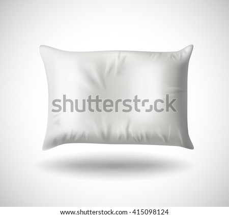 White Pillow on White Background with Real Shadow. Top View of a Soft Colorful Pillow with Copy Space for Tex or Image. Vector illustration EPS10