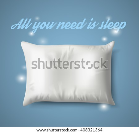 White Pillow with magic on Blue Background with Real Shadow. Top View of a Soft Colorful Pillow with Copy Space for Tex or Image. Vector illustration EPS10 - stock vector