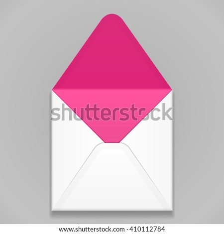 White Pink Violet Purple Blank Envelope. Illustration Isolated On Gray Background. Mock Up Template Ready For Your Design. Vector EPS10  - stock vector