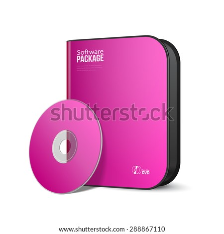 White Pink Violet Purple Rounded Modern Software Package Box With DVD, CD Disk Or Other Your Product EPS10  - stock vector