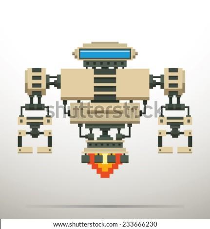 White PIxel Robot, vector - stock vector