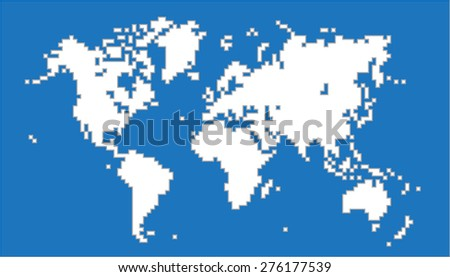 White pixel world map on blue stock vector hd royalty free white pixel world map on blue background vector illustration gumiabroncs Choice Image