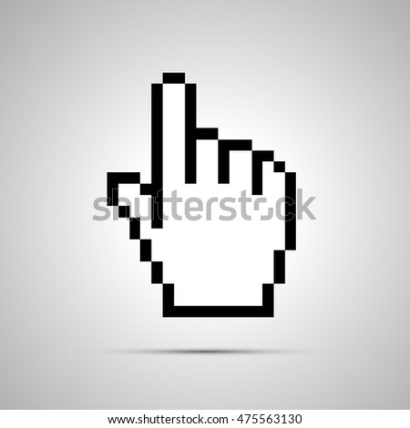 White pixelated computer cursor in hand shape, simple icon with shadow
