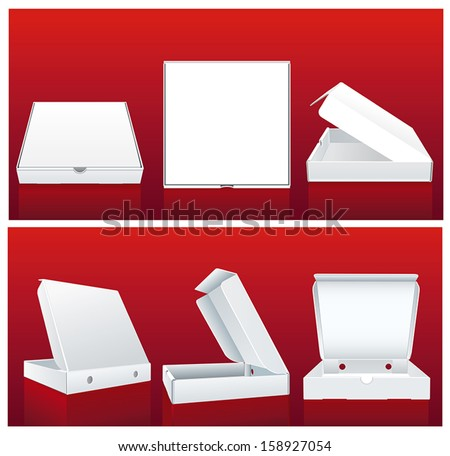 White pizza box in different positions - stock vector