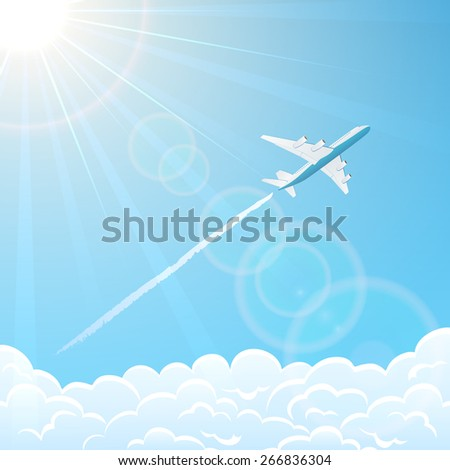 White plane on blue sky background flies over clouds, illustration. - stock vector