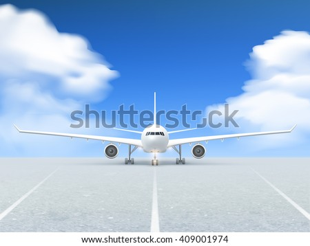 White plane prepares to take off from the runway poster at a realistic blue background and pavement vector illustration