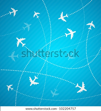 White Planes On Blue Background With Stripes Design For Airports And Travel Agencies Vector