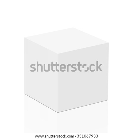 White plaster cube on a white background isolated