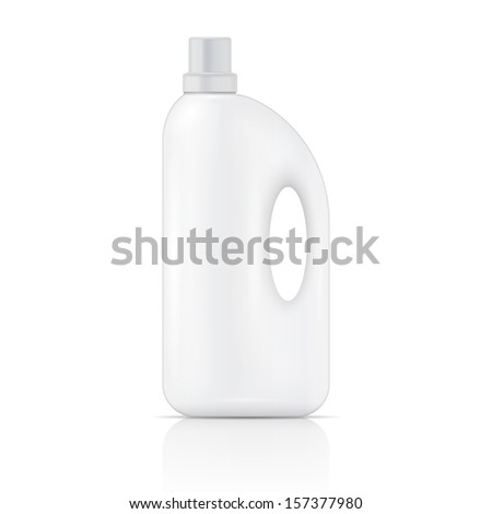 White plastic bottle for liquid laundry detergent, cleaning agent, bleach or fabric softener. Packaging collection. Vector illustration. - stock vector