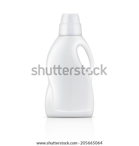 White plastic bottle for liquid laundry detergent or cleaning agent or bleach or fabric softener. Packaging collection. Vector illustration. - stock vector