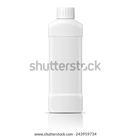 White plastic bottle template for dishwashing liquid, cleaning agent, laundry detergent or bleach. Vector illustration. Packaging collection. - stock vector