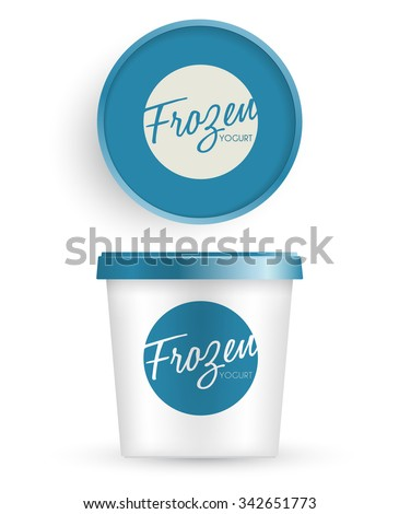White Plastic Bucket With Blue Lid : Ice cream or Yogurt Container : Vector Illustration
