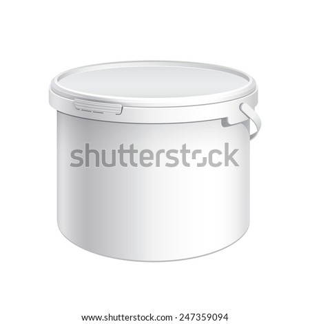 White plastic bucket with White lid. Product Packaging For food, foodstuff or paints, adhesives, sealants, primers, putty. Vector illustration - stock vector