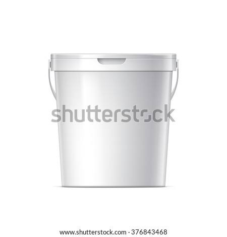 White plastic bucket with White lid. Product Packaging For food, foodstuff or paints, adhesives, sealants, primers, putty. MockUp Template For Your Design. Vector illustration. - stock vector