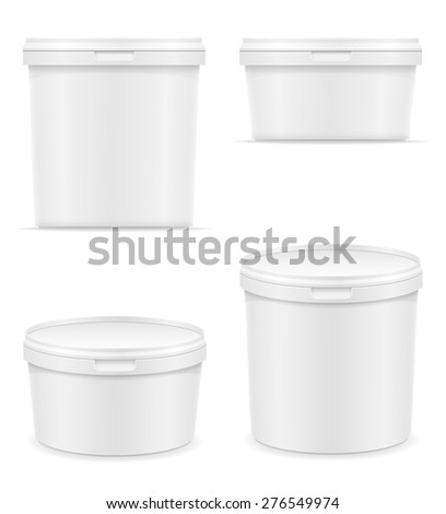 white plastic container for ice cream or dessert vector illustration isolated on background - stock vector