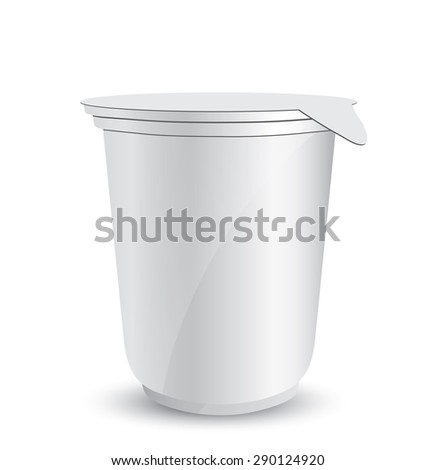 White plastic container of yogurt or ice cream illustration isolated on background - stock vector
