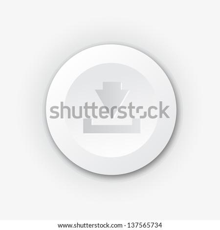 White plastic download button - stock vector