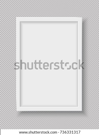 White plastic frame for text or picture is on squared gray background.