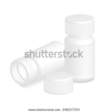 White plastic medical container bottle with cap on white background. - stock vector
