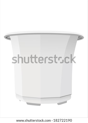 White plastic pot isolated on white