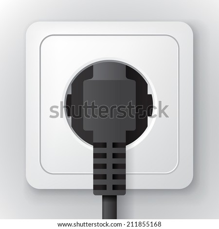 White plastic power socket with black plug on the wall, clear 3d illustration - stock vector
