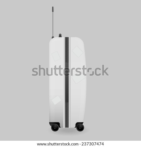 white plastic suitcase on wheels pasted over with road stickers - stock vector