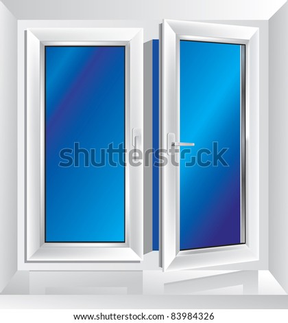 white plastic window ajar with blue color in the background - stock vector