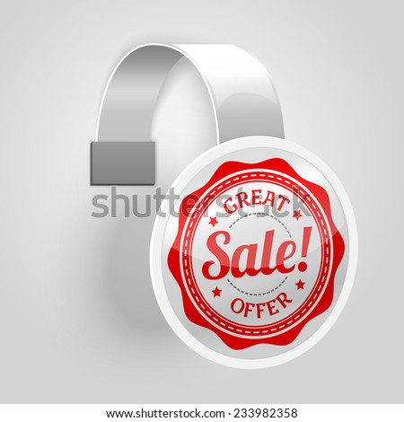 White plastic wobbler with red sale label, isolated on grey background with place for your design and branding. Vector