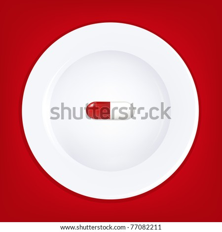 White Plate And Pill, Vector Illustration - stock vector